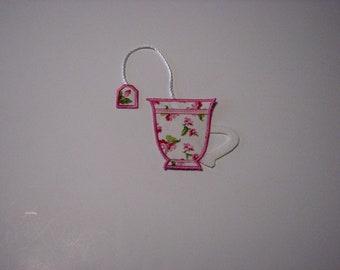 Teacup Bookmark Pink Rosebud
