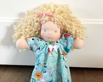 10-11 inch Waldorf Doll Clothes - Monster Print Nightgown 48c8ee476