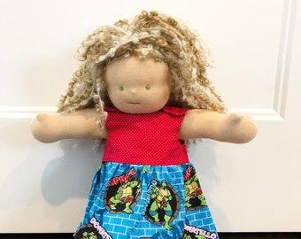 Waldorf Doll Clothes - 14 to 16 inch - Ninja Turtle Dress 340282ce1