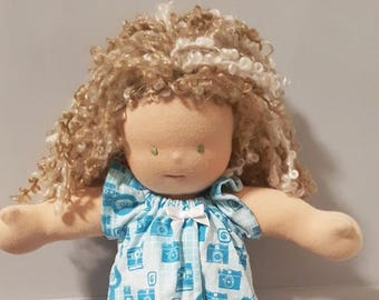 14 to 16 inch Waldorf Doll Clothes - Retro Cameras Nightgown cad3a8eae