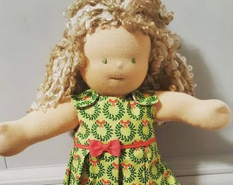Waldorf Doll Clothes - 14 to 16 inch - Christmas Wreaths Dress