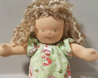 14 to 16 inch Waldorf Doll Clothes - Strawberry Nightgown 17fb2c271