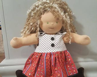 Waldorf Doll Clothes - 14 to 16 inch - Black Button Dress e2392a70a