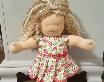 Waldorf Doll Clothes - 14 to 16 inch - Christmas Ornaments Dress