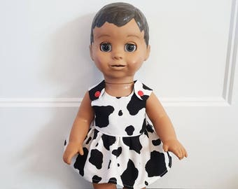 Luvabella Doll Clothes - Doll Clothes - Doll Dress - Baby Doll Clothes - Easy to Dress - Cow Dress