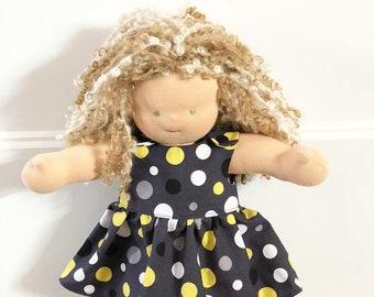 Waldorf Doll Clothes - 14 to 16 inch - Polka Dot Dress