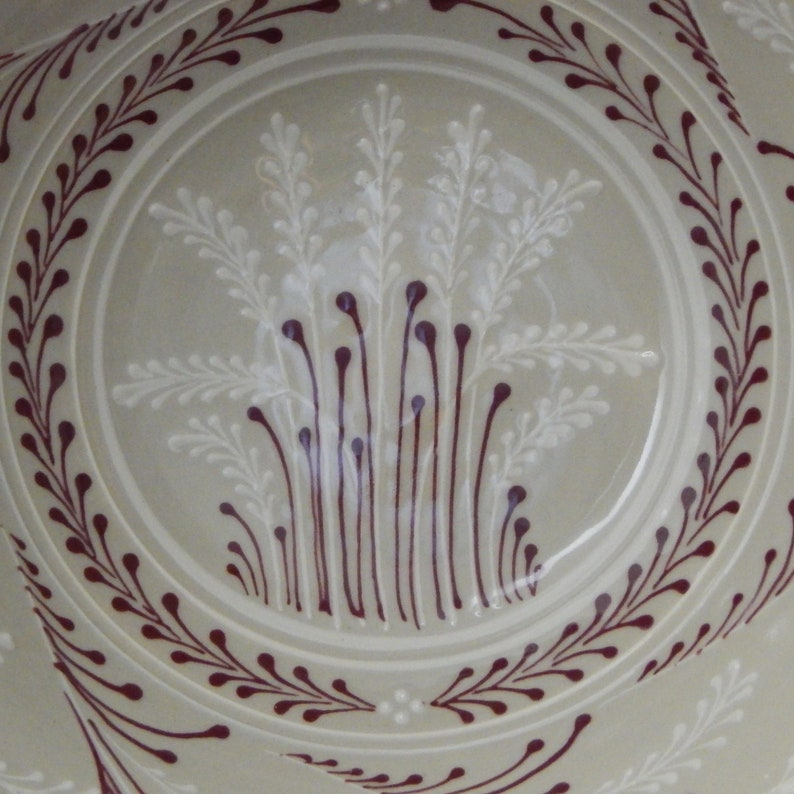 Extra Large Stoneware Bowl  White wheat with Red accents Traditional  Pattern on Stoneware Stoneware Pottery