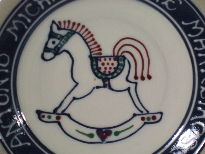 Baby Gift New Baby Rocking Horse  Deluxe Multicolor Personalized Child Birth Plate Stoneware Pottery