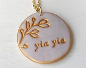 Yia Yia Gift, Mother's Day 2021, Abuela, Nonna, Nana, Grandma , Mama Necklace, Artisan hand stamped Clay Jewelry