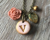 Letter necklace - Rose and Leaf Initial  - Shabby Chic