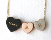 Family Heart Necklace, Couple and kids, Mama and kids, Children Initials, Chunky colourful Heart charm, Christmas Gift for Mama, Nana Gift