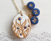 Blue, White and Gold, Unique Botanical Pattern Medallion Necklace, Jewelry for Mom, Necklace for Grandmother with 3 kids initials, by Hand