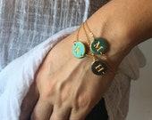Delicate Letter Bracelet, Handmade stamped letter, Custom letter bracelet, Initial Jewelry, Bridesmaid bracelet, Christmas 2019