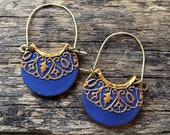 Indigo Embroidery Pattern Hoops, Blue Handmade earrings with Hammered brass wire, India, Morocco, Rich texture, Unique gift