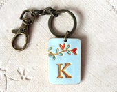 LETTER Keychain, woman's keychain,Initial, Handpainted,  keyring, Christmas gift, Purse accessory. Custom Backpack Accents
