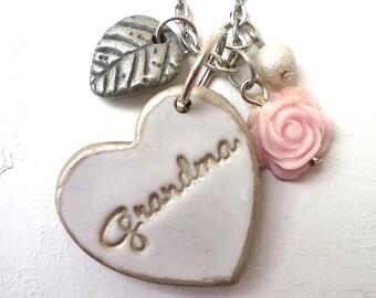 Grandma Silver Heart Necklace