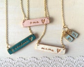 Stamped necklace for mama, oma, grandma, grammy, yiayia, mewmaw, abuela, bubie, aunt, Mothers Day Gift, Color necklace, personalized for mom
