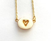 Teeny Tiny Heart Charm necklace in Ivory and Gold- The most adorable dainty piece of jewelry in the world