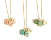 Family Initials Necklace for mom, Charm Necklace, 1 letter, 2 letters, 3 letters Necklace, Mother's Day Jewelry, colors, clay, handmade