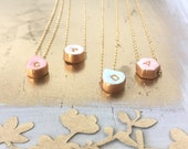 Simple Bridesmaid Necklaces, Geometric shapes, Pastel colors - Dainty letter necklace - Gold plated - Initials for Bridesmaids, Set of 4