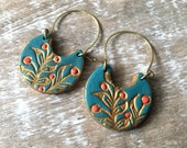 Botanical Pattern Handpainted Clay Earrings, Blue and Gold with Coral accents, Delicate Earrings. Holidays for mom, Christmas for Grammy