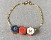 Dainty Gold Bracelet, Artisan Initial Bracelet, Colourful,  personalized for mom, children letters, kids initials, aunt, mama, nana, nonna