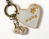 Heart Keychain for Mom, Nana, Nonna, Oma, Grandma, Grammy, Aunt, Kids stamped initials, Mothers Day Keychain