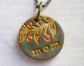 Mom Necklace, Gift for Mom, Imprinted Mom Necklace with Foliage handmade Texture in Gold, Coral and Cement, With Children's names