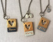 Mother's Day Heart Jewelry, for mom, for grandma, Nonna, Oma, Yia Yia, Stamped name necklace, handmade gift, Personalized for Mothers Day