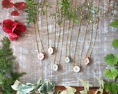 Delicate and Dainty Letter Vintage Frame Necklaces - Botanical - Wedding - Bridesmaids or Personalized dainty Necklace - Custom Colors