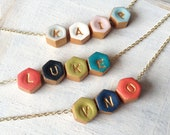 Hexagon Initial necklace, Colourful personalized necklace for mom, children letters, kids initials, aunt, mama, nana, nonna, oma, yia yia