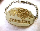 Grandmother Bracelet, Grandma, Nana, Grammy, Granny, Nanny, Yia Yia, Bubbie, oma Bracelet, Mother's Day Gift, Women's personalized Jewelry