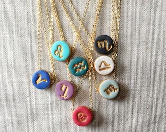 Astro Charm Necklace, Zodiac Sign, Aries, Taurus, Gemini, Cancer, Leo, Virgo, Libra, Scorpio, Sagittarius, Capricorn, Aquarius, Pisces