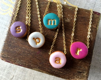 Small Round Stamped Initial on Colorful Chunky Charm - Purple, Gray, Teal, Pink and Magenta - Lowercase Letter Necklace