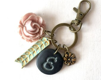Letter Keychain, woman's keychain, personalized boho style keyring, Customized Christmas gift for her