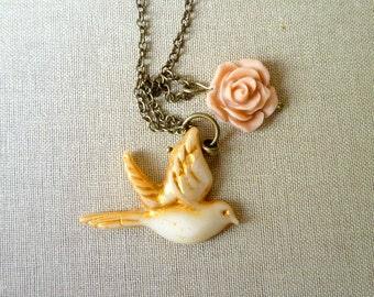Little Bird Necklace - Romantic Bird and Rose