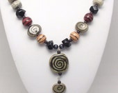 Handcrafted FAIR TRADE Kazuri Ceramic Beads from Kenya, Onyx Nuggets, Tree Agate, Black Cats Eye Necklace.
