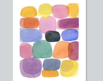 watercolor painting - Color blocks - Abstract painting - watercolor print