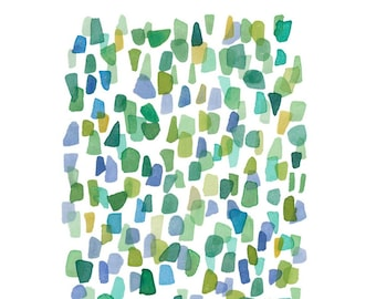 Abstract watercolor painting sea glass original painting abstract watercolor green blue dots