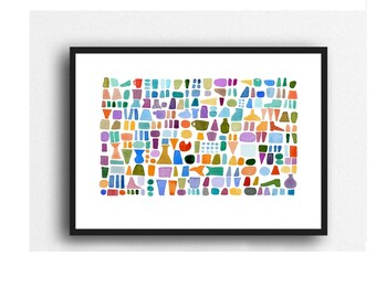 Abstract Watercolor Print, Beach Combing, Colorful Wall Art,