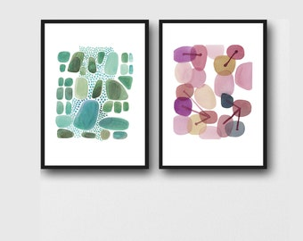 Set of 2 prints, Abstract Watercolor paintings, emerald green, pink pebbles
