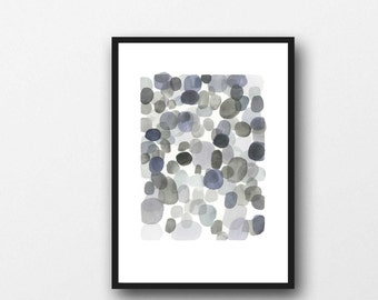 pebble art, neutral colors, modern painting, abstract painting, Abstract Art, Watercolor painting, watercolor grey watercolor print