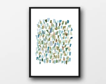Abstract Watercolor print Mossy Green watercolor painting - Sea Glass painting -
