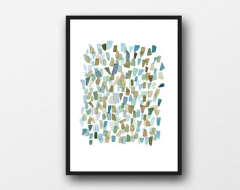 Abstract Watercolor print Mossy Green watercolor painting, Sea Glass Art