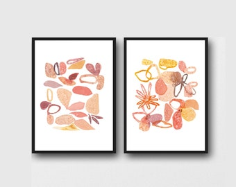 Set of 2 Watercolor Prints, Floral Art, Romantic Home decor