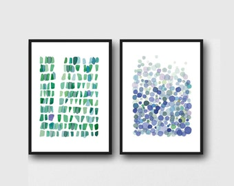 Set of 2 large prints, Nautical Beach house office decor, blue green Watercolor paintings, watercolor prints green blue