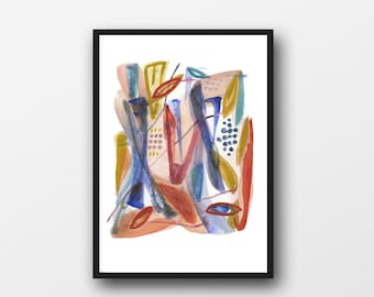 Abstract Painting Print, Abstract art, Colorful art, abstract print, abstract watercolor painting, abstract painting red blue