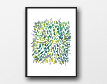 Abstract watercolor painting, green Wall art, large print Watercolor painting Abstract print