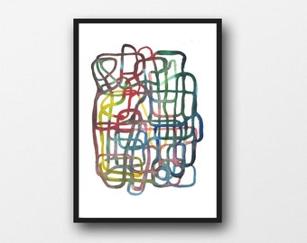 Watercolor abstract painting, archival print, modern art print, colorful watercolor painting, colorful watercolor wall art