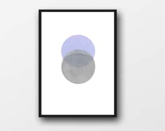 Moon Art Print, Modern Minimalist art, Abstract minimal Watercolor Circles print, Zen art